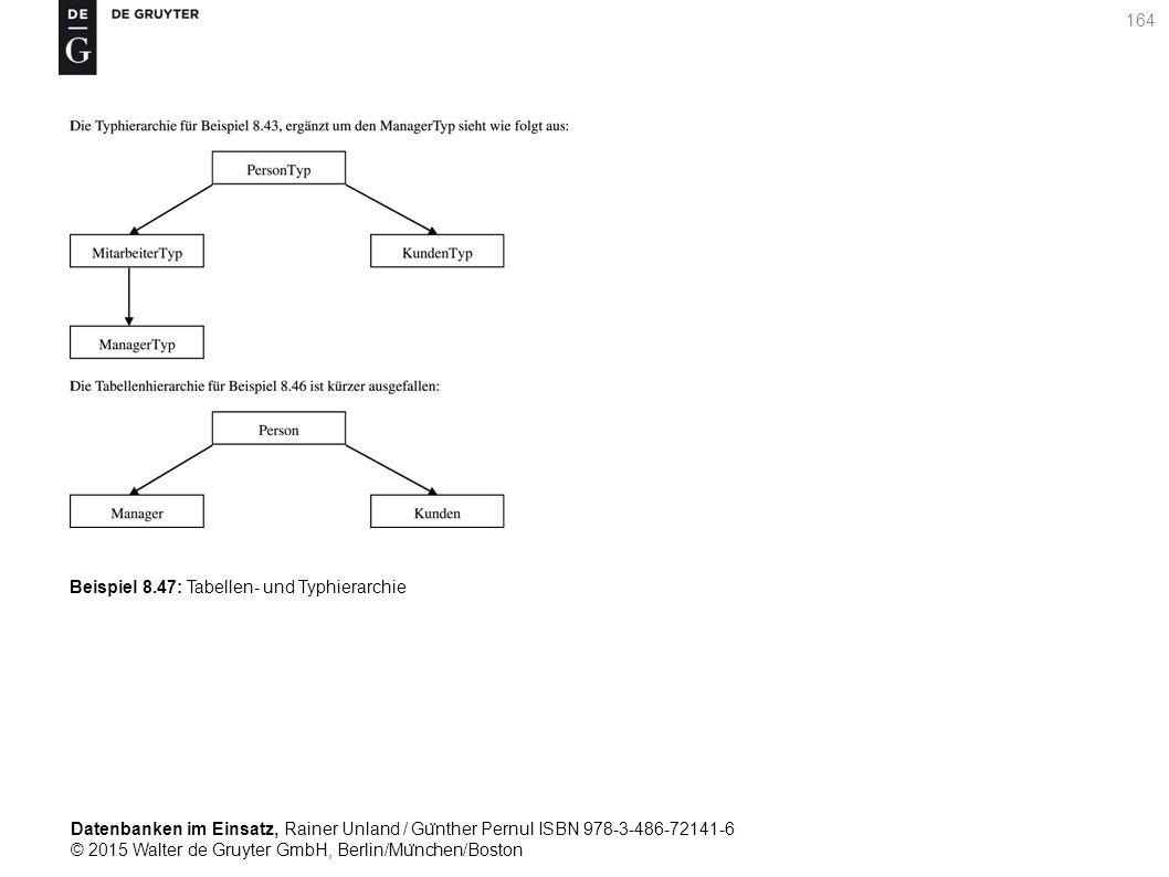 Datenbanken im Einsatz, Rainer Unland / Gu ̈ nther Pernul ISBN 978-3-486-72141-6 © 2015 Walter de Gruyter GmbH, Berlin/Mu ̈ nchen/Boston 164 Beispiel 8.47: Tabellen- und Typhierarchie