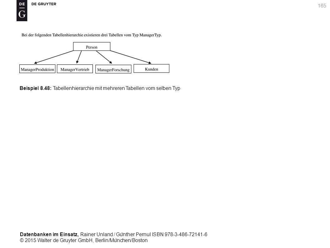 Datenbanken im Einsatz, Rainer Unland / Gu ̈ nther Pernul ISBN 978-3-486-72141-6 © 2015 Walter de Gruyter GmbH, Berlin/Mu ̈ nchen/Boston 165 Beispiel 8.48: Tabellenhierarchie mit mehreren Tabellen vom selben Typ