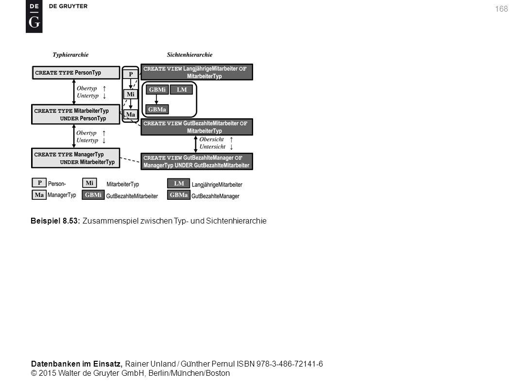 Datenbanken im Einsatz, Rainer Unland / Gu ̈ nther Pernul ISBN 978-3-486-72141-6 © 2015 Walter de Gruyter GmbH, Berlin/Mu ̈ nchen/Boston 168 Beispiel 8.53: Zusammenspiel zwischen Typ- und Sichtenhierarchie