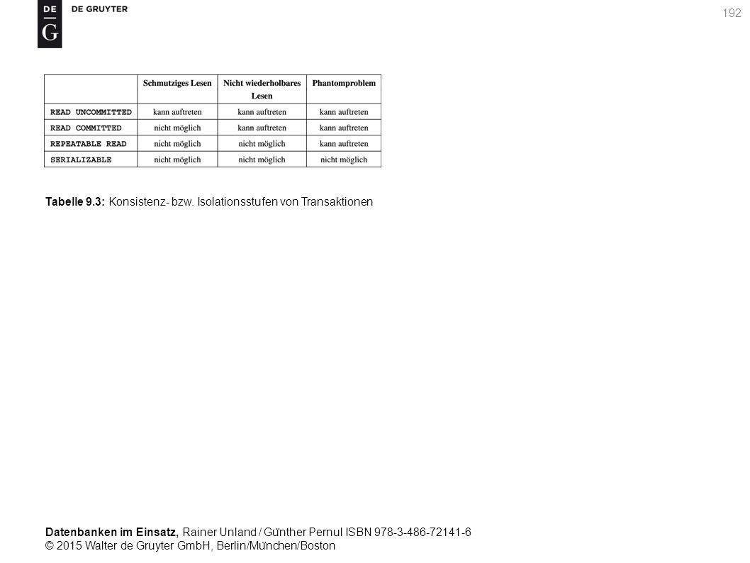 Datenbanken im Einsatz, Rainer Unland / Gu ̈ nther Pernul ISBN 978-3-486-72141-6 © 2015 Walter de Gruyter GmbH, Berlin/Mu ̈ nchen/Boston 192 Tabelle 9.3: Konsistenz- bzw.