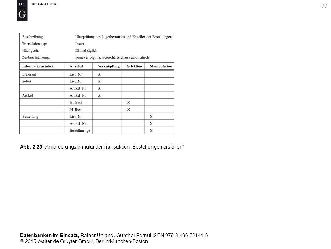 Datenbanken im Einsatz, Rainer Unland / Gu ̈ nther Pernul ISBN 978-3-486-72141-6 © 2015 Walter de Gruyter GmbH, Berlin/Mu ̈ nchen/Boston 30 Abb. 2.23:
