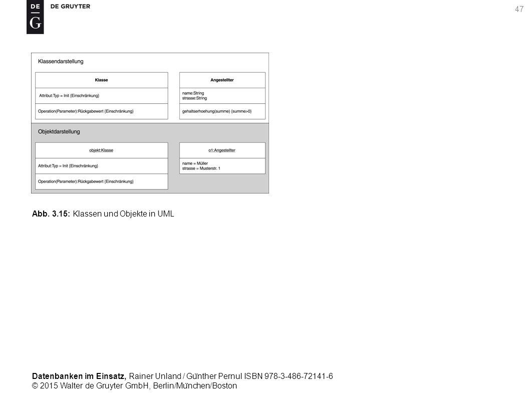 Datenbanken im Einsatz, Rainer Unland / Gu ̈ nther Pernul ISBN 978-3-486-72141-6 © 2015 Walter de Gruyter GmbH, Berlin/Mu ̈ nchen/Boston 47 Abb. 3.15: