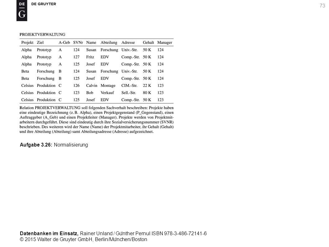 Datenbanken im Einsatz, Rainer Unland / Gu ̈ nther Pernul ISBN 978-3-486-72141-6 © 2015 Walter de Gruyter GmbH, Berlin/Mu ̈ nchen/Boston 73 Aufgabe 3.26: Normalisierung