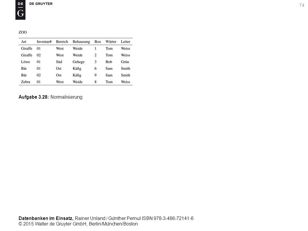 Datenbanken im Einsatz, Rainer Unland / Gu ̈ nther Pernul ISBN 978-3-486-72141-6 © 2015 Walter de Gruyter GmbH, Berlin/Mu ̈ nchen/Boston 74 Aufgabe 3.28: Normalisierung