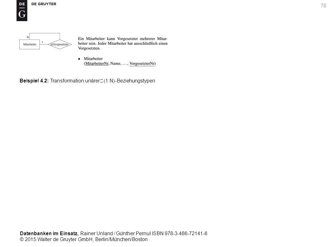 Datenbanken im Einsatz, Rainer Unland / Gu ̈ nther Pernul ISBN 978-3-486-72141-6 © 2015 Walter de Gruyter GmbH, Berlin/Mu ̈ nchen/Boston 78 Beispiel 4.2: Transformation unärer1:N-Beziehungstypen