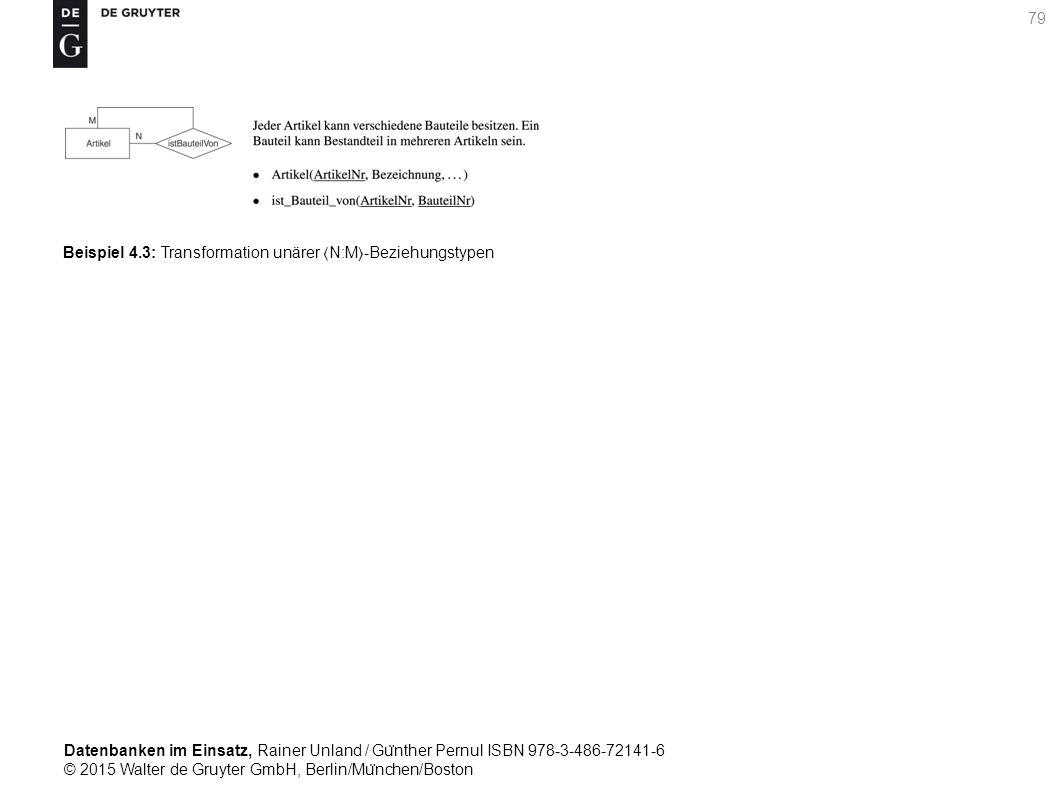Datenbanken im Einsatz, Rainer Unland / Gu ̈ nther Pernul ISBN 978-3-486-72141-6 © 2015 Walter de Gruyter GmbH, Berlin/Mu ̈ nchen/Boston 79 Beispiel 4.3: Transformation unärer N:M-Beziehungstypen