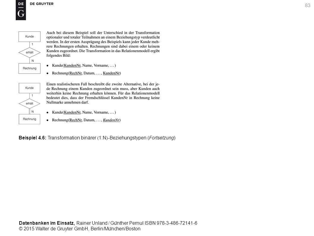 Datenbanken im Einsatz, Rainer Unland / Gu ̈ nther Pernul ISBN 978-3-486-72141-6 © 2015 Walter de Gruyter GmbH, Berlin/Mu ̈ nchen/Boston 83 Beispiel 4.6: Transformation binärer 1:N-Beziehungstypen (Fortsetzung)