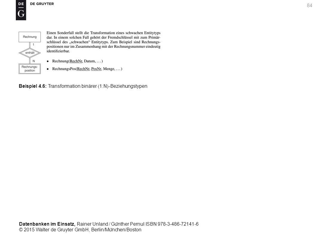 Datenbanken im Einsatz, Rainer Unland / Gu ̈ nther Pernul ISBN 978-3-486-72141-6 © 2015 Walter de Gruyter GmbH, Berlin/Mu ̈ nchen/Boston 84 Beispiel 4.6: Transformation binärer 1:N-Beziehungstypen