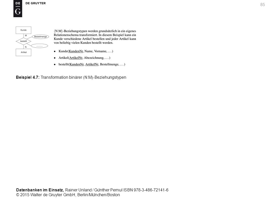 Datenbanken im Einsatz, Rainer Unland / Gu ̈ nther Pernul ISBN 978-3-486-72141-6 © 2015 Walter de Gruyter GmbH, Berlin/Mu ̈ nchen/Boston 85 Beispiel 4.7: Transformation binärer N:M-Beziehungstypen
