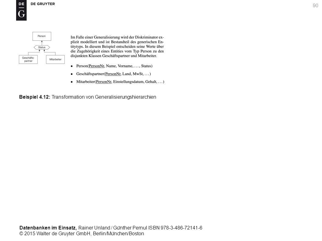 Datenbanken im Einsatz, Rainer Unland / Gu ̈ nther Pernul ISBN 978-3-486-72141-6 © 2015 Walter de Gruyter GmbH, Berlin/Mu ̈ nchen/Boston 90 Beispiel 4.12: Transformation von Generalisierungshierarchien