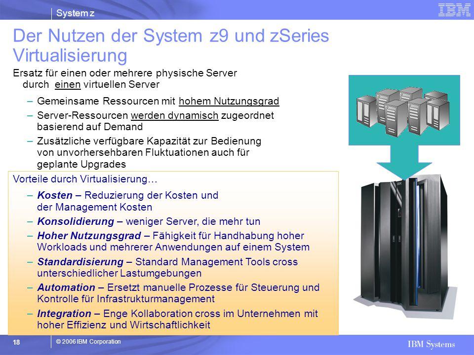 © 2006 IBM Corporation System z 18 Ersatz für einen oder mehrere physische Server durch einen virtuellen Server –Gemeinsame Ressourcen mit hohem Nutzu