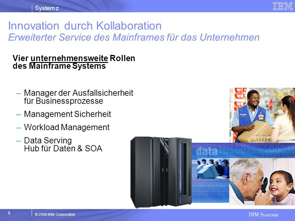 System z © 2006 IBM Corporation 5 Innovation durch Kollaboration Erweiterter Service des Mainframes für das Unternehmen Vier unternehmensweite Rollen