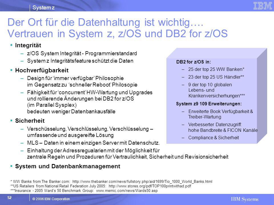 System z © 2006 IBM Corporation 52  Integrität –z/OS System Integrität - Programmierstandard –System z Integritätsfeature schützt die Daten  Hochver