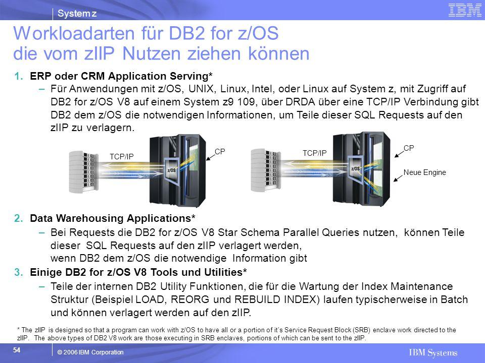 System z © 2006 IBM Corporation 54 2.Data Warehousing Applications* –Bei Requests die DB2 for z/OS V8 Star Schema Parallel Queries nutzen, können Teil