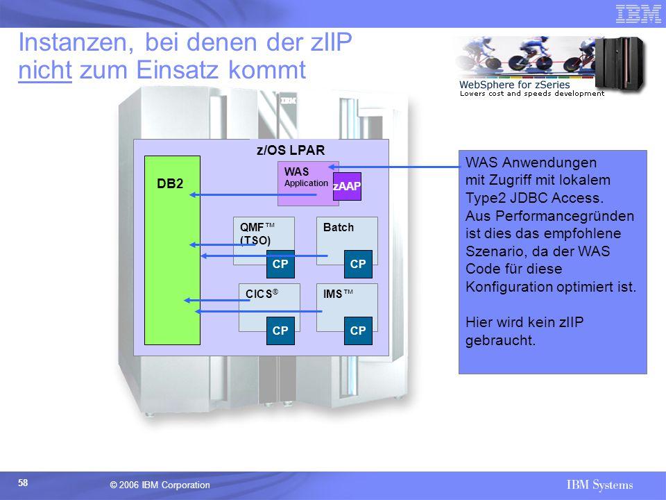 © 2006 IBM Corporation 58 Instanzen, bei denen der zIIP nicht zum Einsatz kommt z/OS LPAR Batch WAS Anwendungen mit Zugriff mit lokalem Type2 JDBC Acc