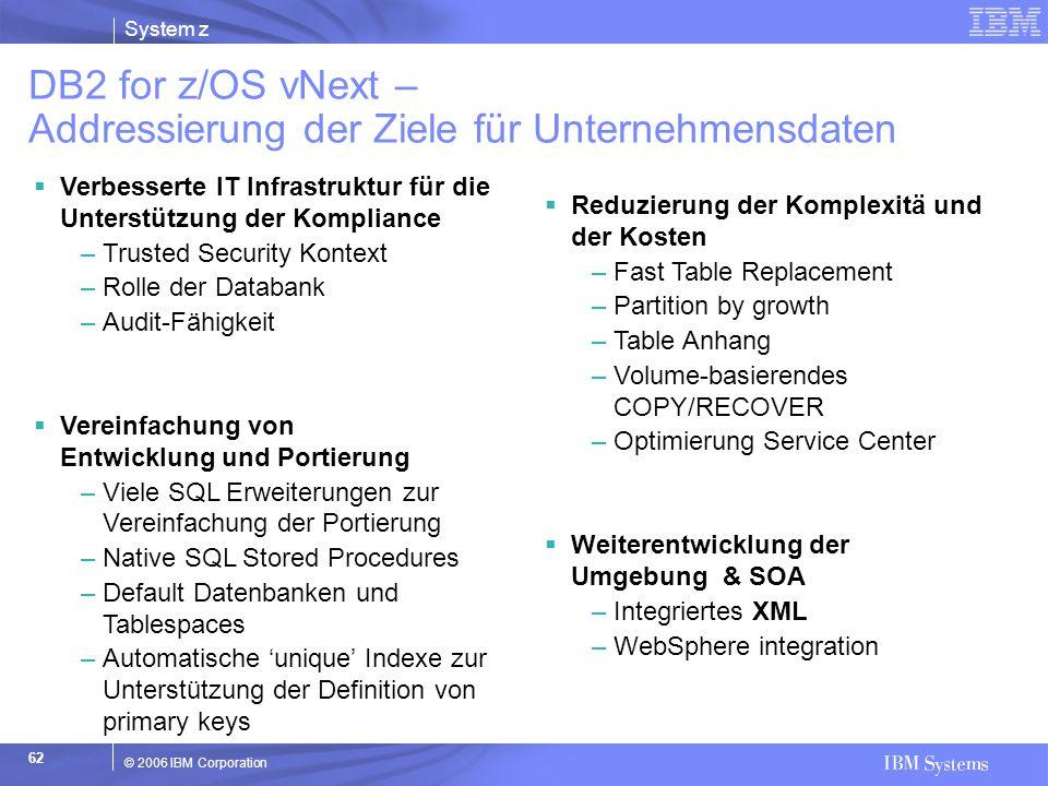 System z © 2006 IBM Corporation 62  Verbesserte IT Infrastruktur für die Unterstützung der Kompliance –Trusted Security Kontext –Rolle der Databank –