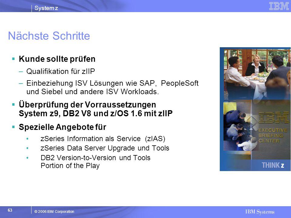 System z © 2006 IBM Corporation 63 Nächste Schritte  Kunde sollte prüfen –Qualifikation für zIIP –Einbeziehung ISV Lösungen wie SAP, PeopleSoft und S