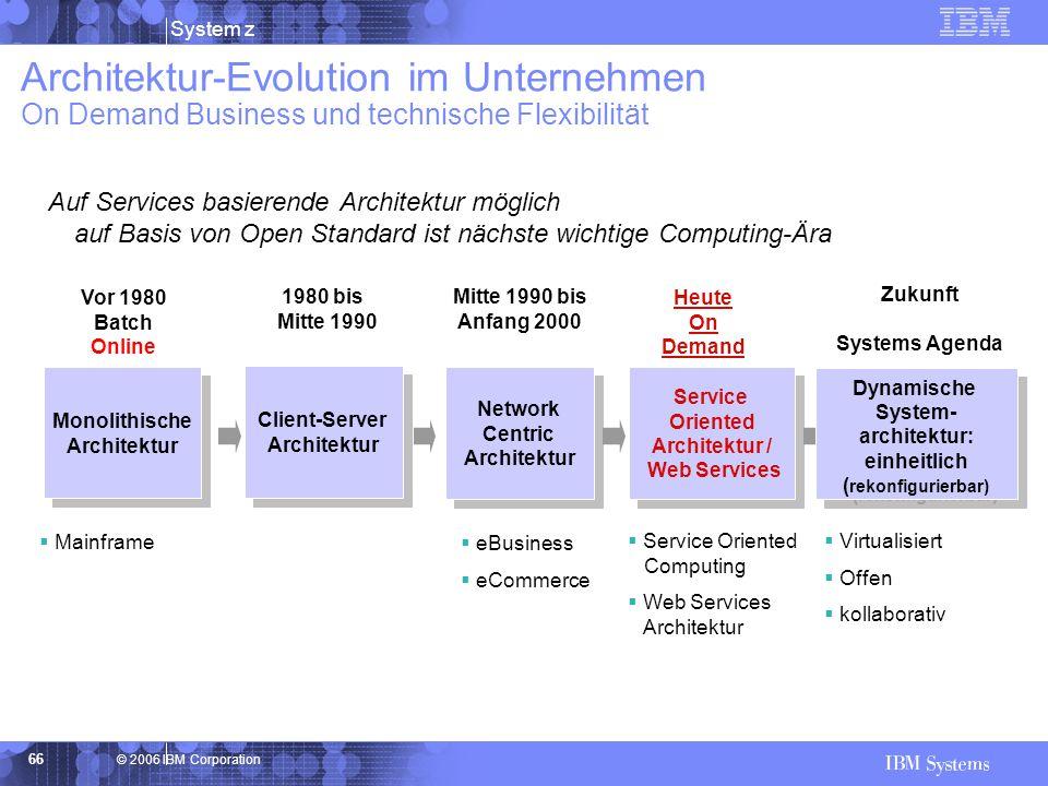 © 2006 IBM Corporation System z 66 Architektur-Evolution im Unternehmen On Demand Business und technische Flexibilität Monolithische Architektur Monol