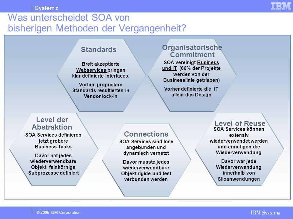 © 2006 IBM Corporation System z Was unterscheidet SOA von bisherigen Methoden der Vergangenheit? Breit akzeptierte Webservices bringen klar definierte