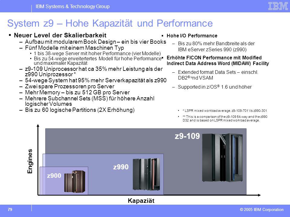 IBM Systems & Technology Group © 2005 IBM Corporation 79 System z9 – Hohe Kapazität und Performance  Neuer Level der Skalierbarkeit –Aufbau mit modul