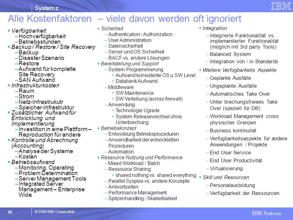© 2006 IBM Corporation System z 92  Integration –Integrierte Funktionalität vs. implemeniterter Funktionalität (möglich mit 3rd party Tools) –Balance