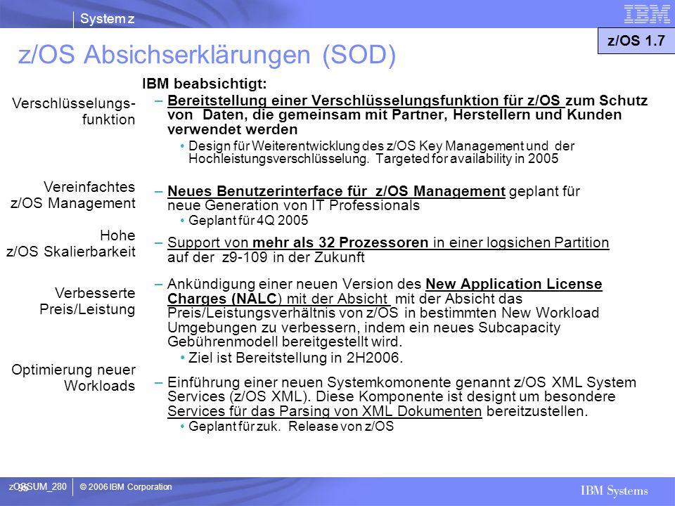 © 2006 IBM Corporation System z 95 z/OS Absichserklärungen (SOD) IBM beabsichtigt: –Bereitstellung einer Verschlüsselungsfunktion für z/OS zum Schutz
