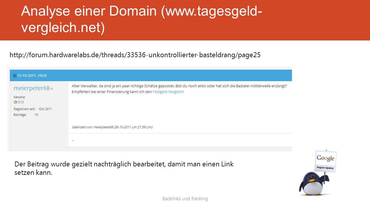 Analyse einer Domain (www.tagesgeld- vergleich.net) Backlinks und Ranking http://forum.hardwarelabs.de/threads/33536-unkontrollierter-basteldrang/page