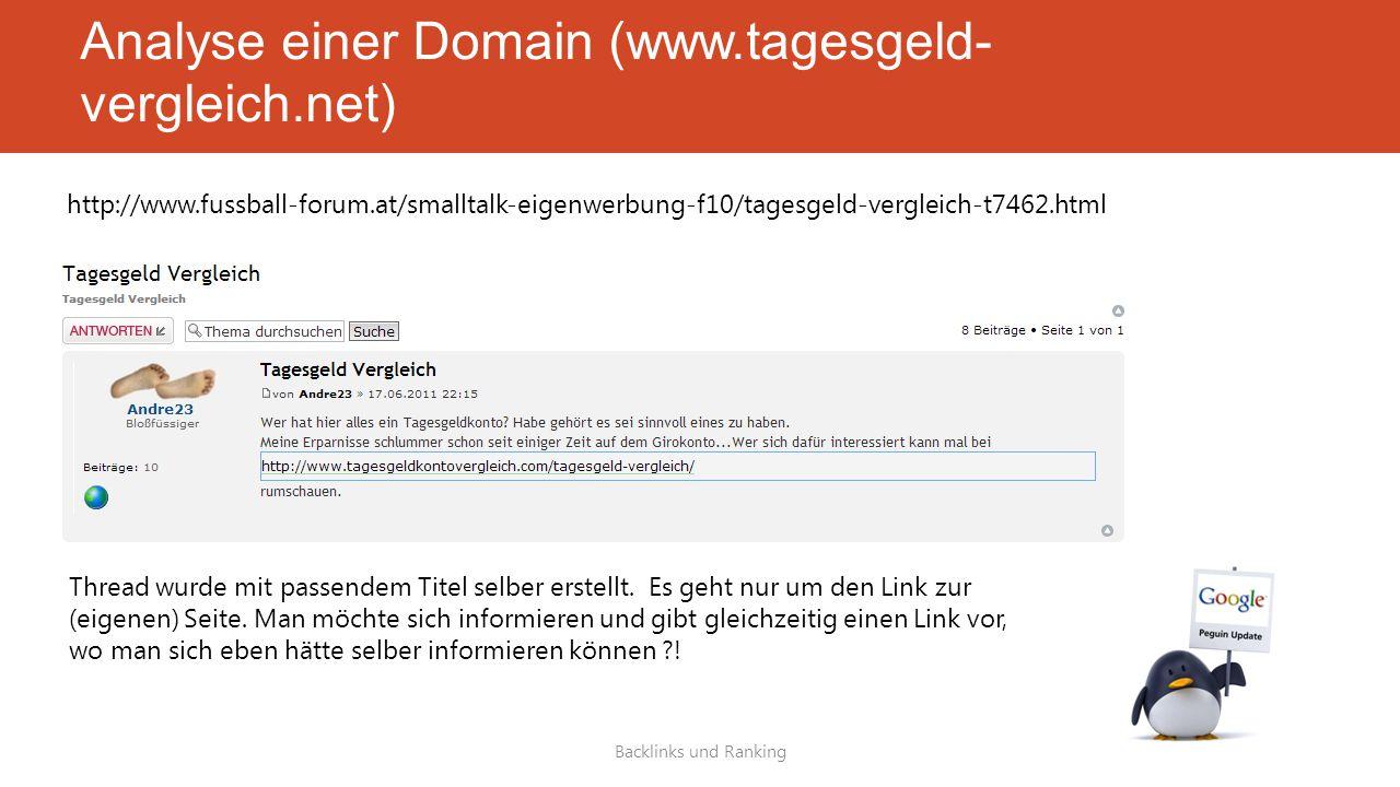 Analyse einer Domain (www.tagesgeld- vergleich.net) Backlinks und Ranking http://www.fussball-forum.at/smalltalk-eigenwerbung-f10/tagesgeld-vergleich-