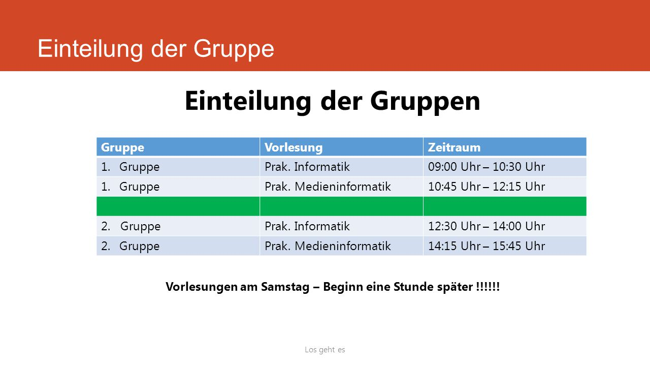 Einteilung der Gruppe Los geht es Einteilung der Gruppen GruppeVorlesungZeitraum 1.GruppePrak. Informatik09:00 Uhr – 10:30 Uhr 1.GruppePrak. Medieninf