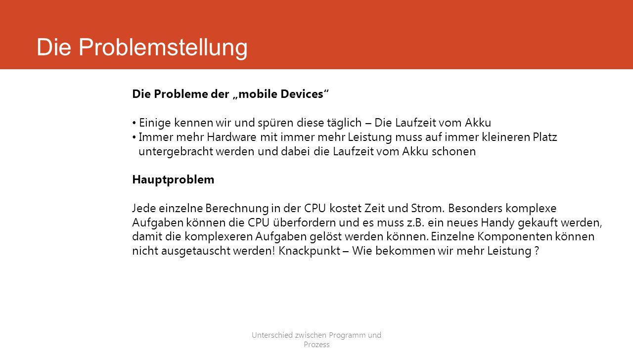"""Die Problemstellung Unterschied zwischen Programm und Prozess Die Probleme der """"mobile Devices"""" Einige kennen wir und spüren diese täglich – Die Laufz"""