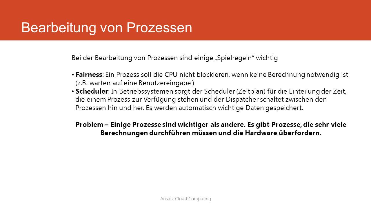 """Bearbeitung von Prozessen Ansatz Cloud Computing Bei der Bearbeitung von Prozessen sind einige """"Spielregeln"""" wichtig Fairness: Ein Prozess soll die CP"""