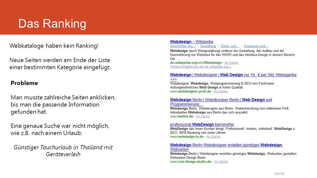 Webkataloge haben kein Ranking! Neue Seiten werden am Ende der Liste einer bestimmten Kategorie eingefügt. Probleme Man musste zahlreiche Seiten ankli