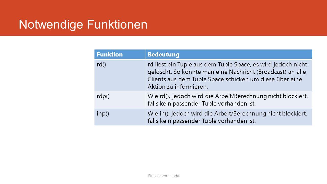 Notwendige Funktionen Einsatz von Linda FunktionBedeutung rd()rd liest ein Tuple aus dem Tuple Space, es wird jedoch nicht gelöscht. So könnte man ein