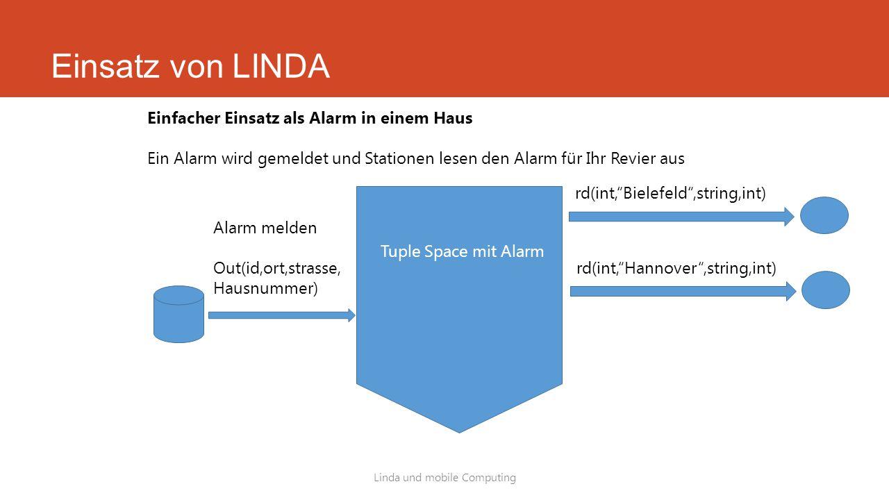 Einsatz von LINDA Linda und mobile Computing Einfacher Einsatz als Alarm in einem Haus Ein Alarm wird gemeldet und Stationen lesen den Alarm für Ihr R