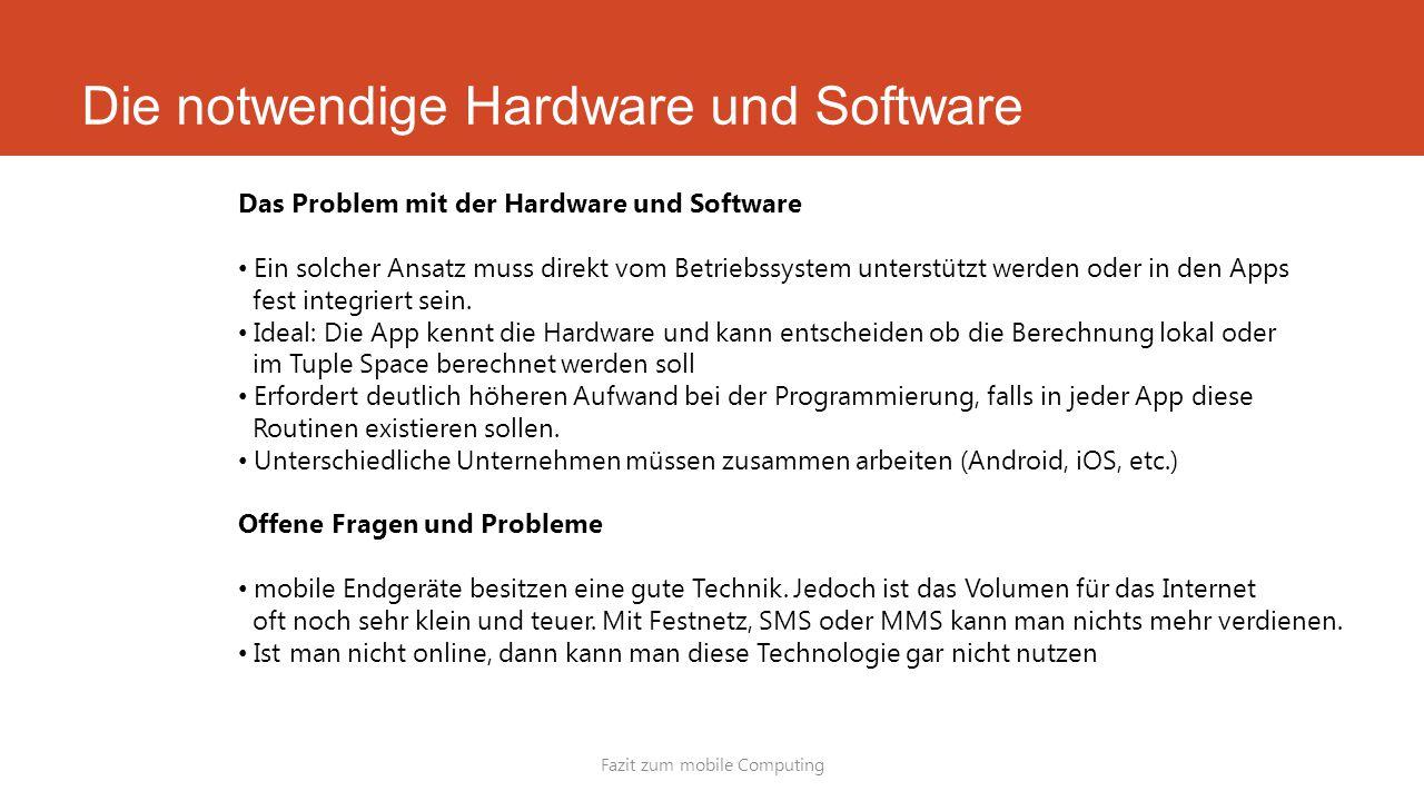 Die notwendige Hardware und Software Fazit zum mobile Computing Das Problem mit der Hardware und Software Ein solcher Ansatz muss direkt vom Betriebss