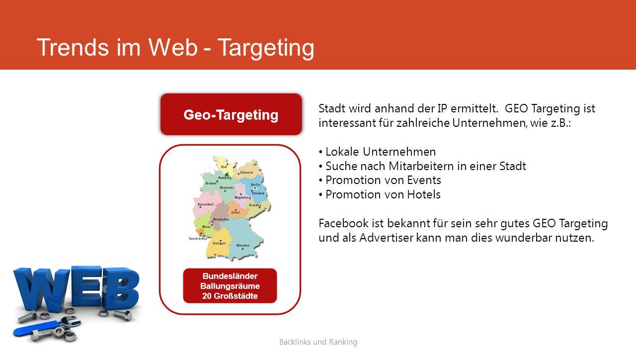 Trends im Web - Targeting Backlinks und Ranking Stadt wird anhand der IP ermittelt. GEO Targeting ist interessant für zahlreiche Unternehmen, wie z.B.