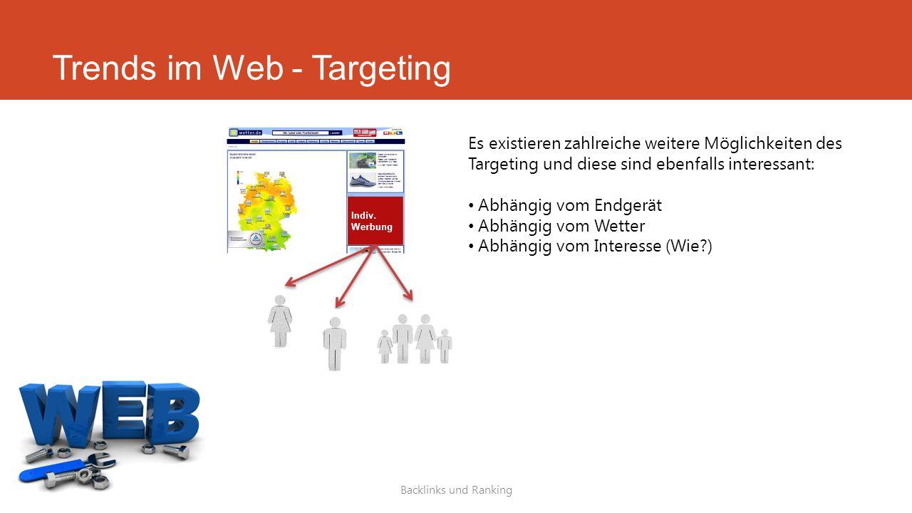 Trends im Web - Targeting Backlinks und Ranking Es existieren zahlreiche weitere Möglichkeiten des Targeting und diese sind ebenfalls interessant: Abh