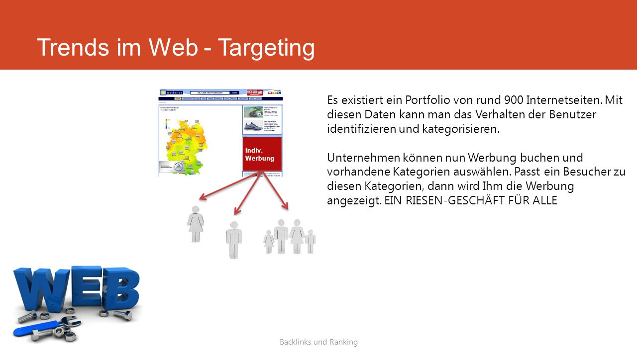 Trends im Web - Targeting Backlinks und Ranking Es existiert ein Portfolio von rund 900 Internetseiten. Mit diesen Daten kann man das Verhalten der Be
