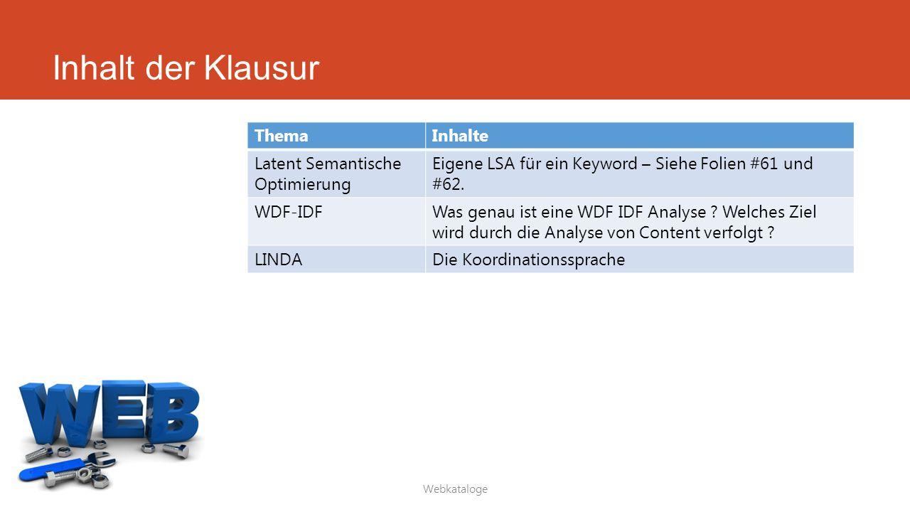 Inhalt der Klausur Webkataloge ThemaInhalte Latent Semantische Optimierung Eigene LSA für ein Keyword – Siehe Folien #61 und #62. WDF-IDFWas genau ist