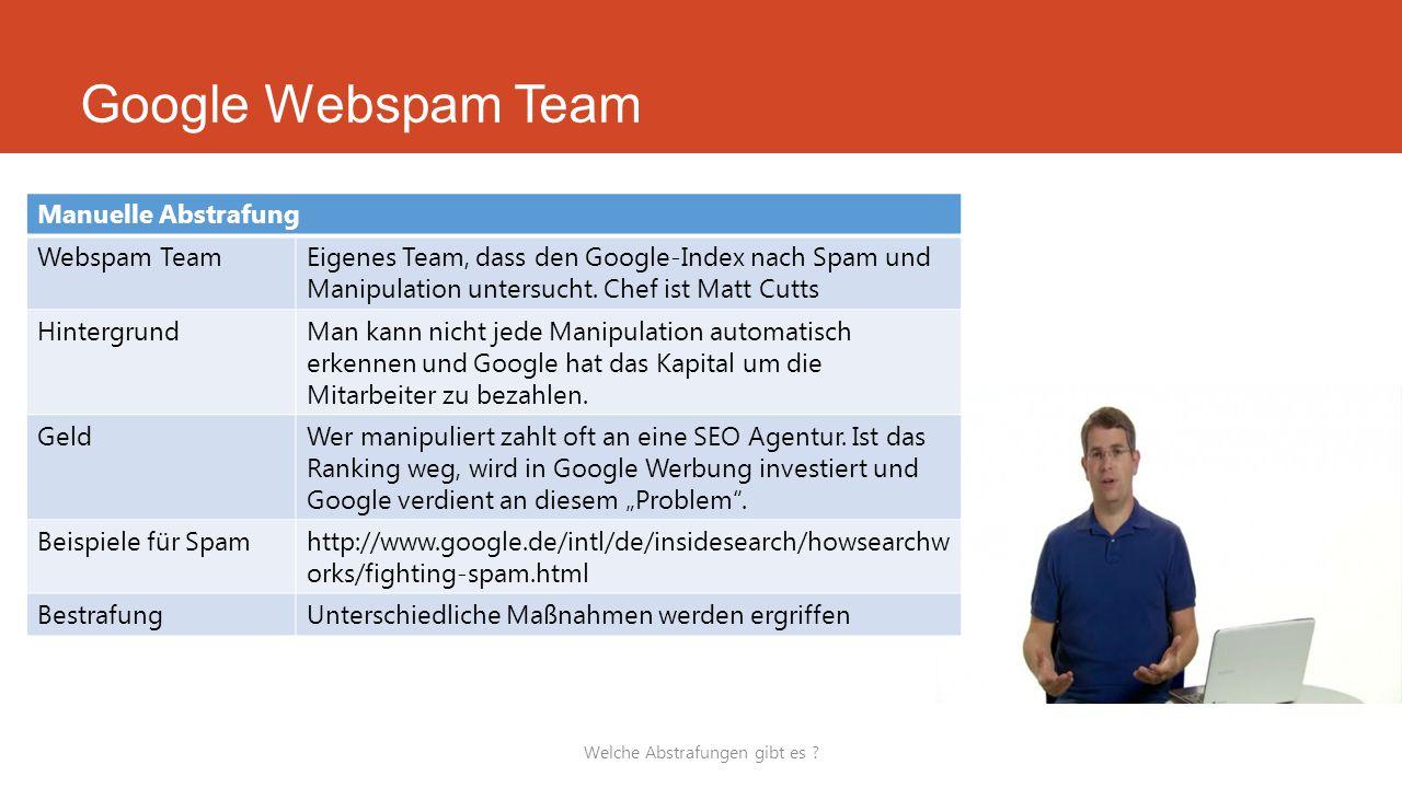 Welche Abstrafungen gibt es ? Manuelle Abstrafung Webspam TeamEigenes Team, dass den Google-Index nach Spam und Manipulation untersucht. Chef ist Matt