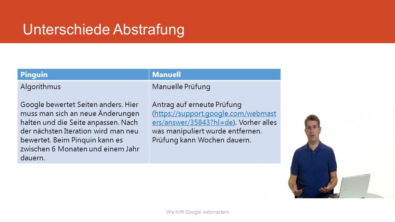 Unterschiede Abstrafung Wie hilft Google webmastern PinguinManuell Algorithmus Google bewertet Seiten anders. Hier muss man sich an neue Änderungen ha