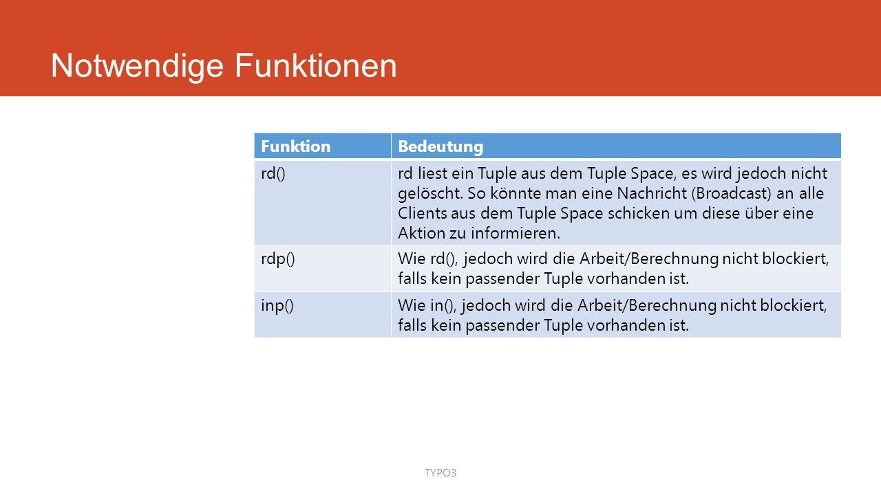 Notwendige Funktionen TYPO3 FunktionBedeutung rd()rd liest ein Tuple aus dem Tuple Space, es wird jedoch nicht gelöscht. So könnte man eine Nachricht