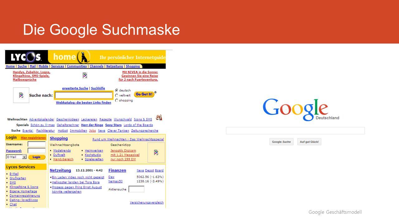 Die Google Suchmaske Google Geschäftsmodell