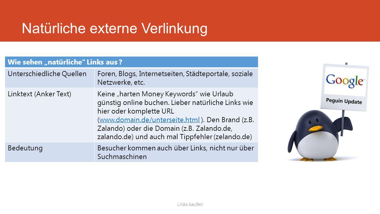 """Links kaufen Wie sehen """"natürliche"""" Links aus ? Unterschiedliche QuellenForen, Blogs, Internetseiten, Städteportale, soziale Netzwerke, etc. Linktext"""