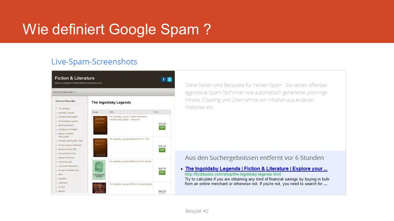 Wie definiert Google Spam ? Beispiel #2