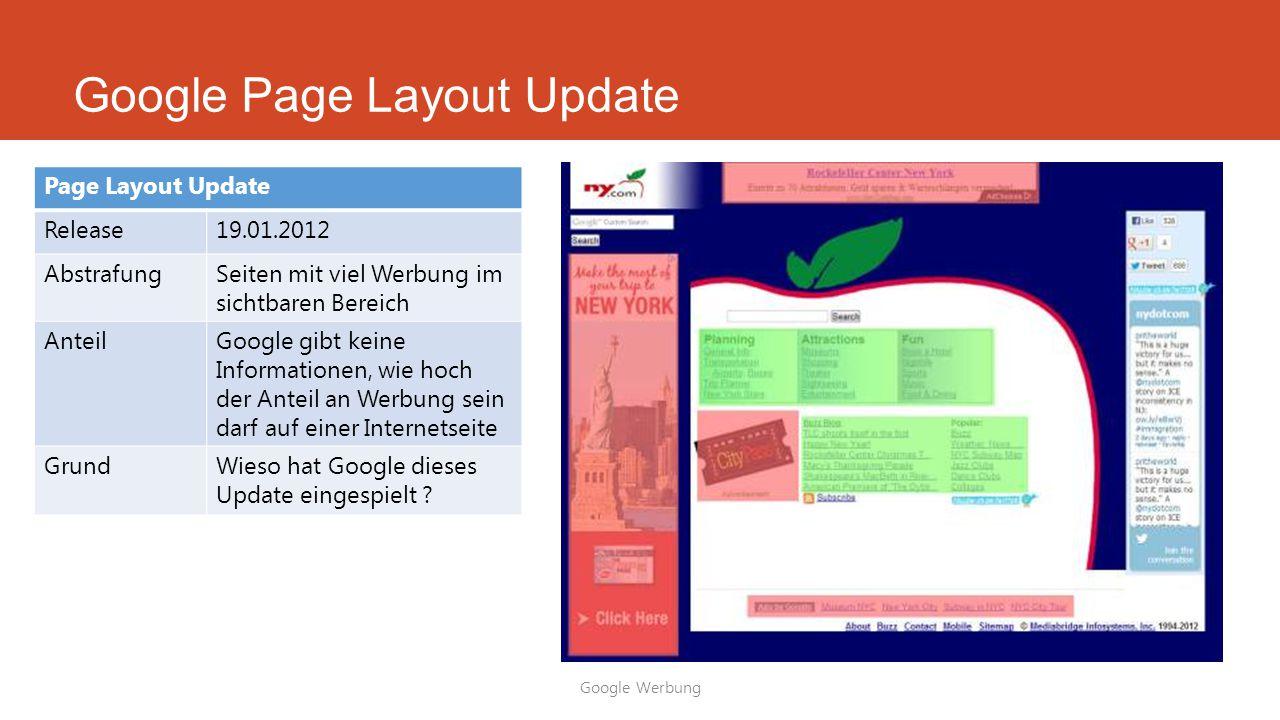 Google Page Layout Update Google Werbung Page Layout Update Release19.01.2012 AbstrafungSeiten mit viel Werbung im sichtbaren Bereich AnteilGoogle gib
