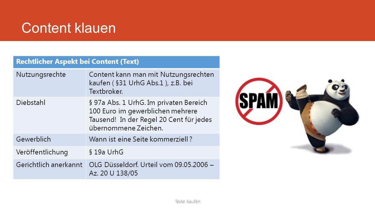 Texte kaufen Rechtlicher Aspekt bei Content (Text) NutzungsrechteContent kann man mit Nutzungsrechten kaufen ( §31 UrhG Abs.1 ), z.B. bei Textbroker.