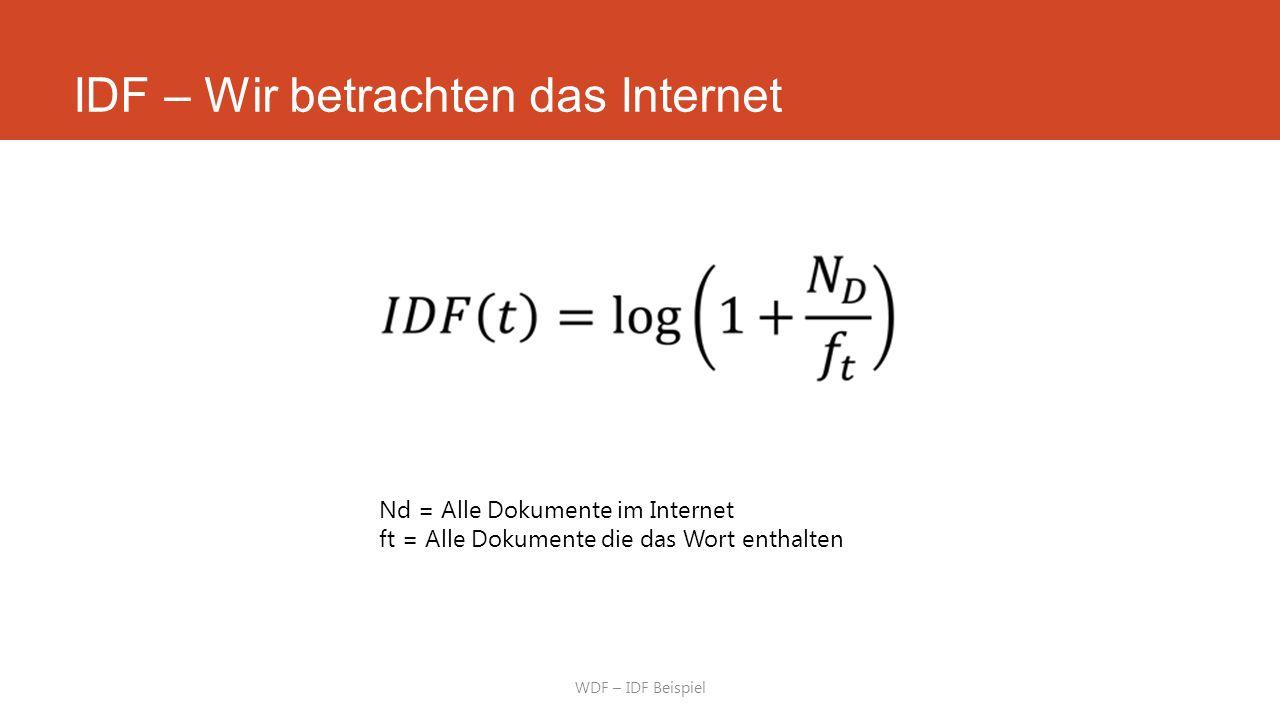 IDF – Wir betrachten das Internet WDF – IDF Beispiel Nd = Alle Dokumente im Internet ft = Alle Dokumente die das Wort enthalten
