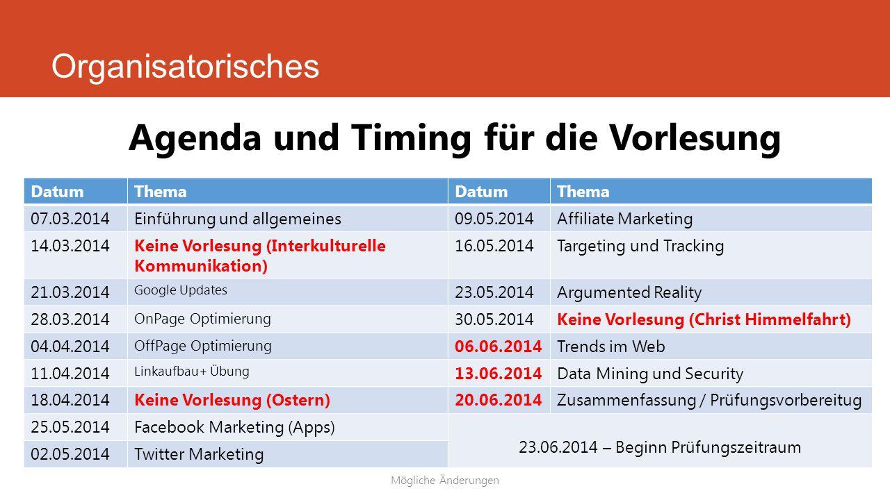Organisatorisches Mögliche Änderungen Agenda und Timing für die Vorlesung DatumThemaDatumThema 07.03.2014Einführung und allgemeines09.05.2014Affiliate