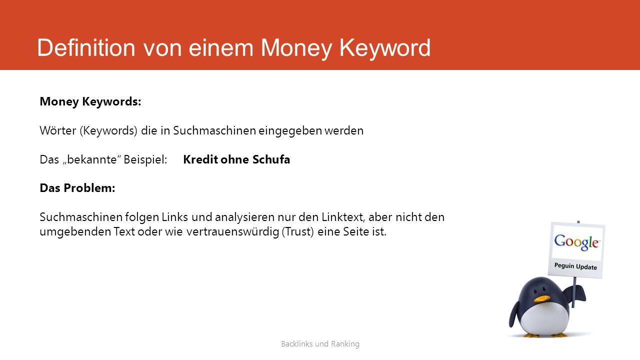 """Definition von einem Money Keyword Backlinks und Ranking Money Keywords: Wörter (Keywords) die in Suchmaschinen eingegeben werden Das """"bekannte"""" Beisp"""